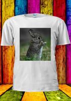 engraçado bebê animais venda por atacado-Bebê bonito Coelho Comer Animal Engraçado T-shirt Das Mulheres Dos Homens Do Tanque Top Unisex 1481 Tees Personalizado camisa de t camisola do hoodie hip hop t-shirt