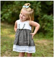 mädchen kind westlichen kleid großhandel-Baby Kleid Nette Kleinkind Mädchen Ins Hot Lace Patchwork Prinzessin Sommer Rüschen Kleid New Western Party Fashion Kids