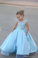 Wholesale iced caps resale online - Cheap Ice Blue Princess A Line Girls Pageant Dresses V Neck D Floral Applique Pageant Dresses for Kids Girls Birthday Gowns Custom Made