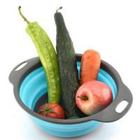 fruchtkörbe geben verschiffen frei großhandel-Zusammenklappbare Silikon-Sieb-Sieb-Küchen-Frucht-Filter-Korb-Gemüsesieb-Küchenvorratsschüssel 2pcs / set geben Verschiffen frei