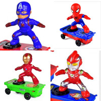 Wholesale 12 electric car resale online - Iron Man Music Sounding Toys Spiderman Scooter Toy Electric Stunt Car Model Luminous Degree Rotation mk O1