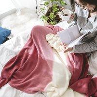 auto betten für reisen großhandel-Decke Elegante Blau und Rot stufenweise Farbe gestrickte Decke für Sofa Couch Reisen / Bettdecke / Auto dekoratives 100% Baumwolle