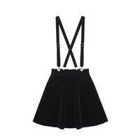 falda mujer amor al por mayor-Falda de las mujeres Harajuku Velvet Punk Love Clip Correa Falda Para Damas Femeninas Mini Faldas Negro Y19043002