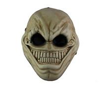 traje de sonrisa de adulto al por mayor-Horror Payday 2 Alien Resin Mask Máscara Full Face Juego de dibujos animados de Halloween Scary Smile Masks Masquerade Party Cospaly Costume Atrezzo Adulto