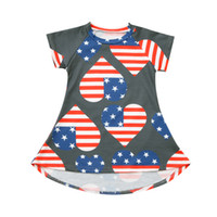 Wholesale patriotic clothes resale online - Fashsiualy Baby Girls Fashion Dress Clothes Vestidos Toddler Baby Girls th of July Stars and Stripe Love Print Patriotic Dress