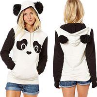 polar panda hoodie toptan satış-Kış Sıcak Kadınlar Casual Hoodie Polar Kapşonlu Kazak Tops Karikatür Panda Sevimli Kazak S-2XL