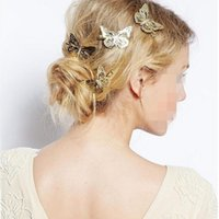 Wholesale white butterfly hair accessories for sale - Group buy Hot Sale Fashion Women Shiny Golden Butterfly Hair Clip Headband Hairpin Accessory Headpiece