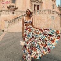 plaj tüpleri toptan satış-Bohemian plaj elbise Seksi kolsuz ruffled elbise Iki parçalı takım moda baskı seksi tüp üst sapan + yarım uzunluk set