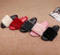 красные меховые девушки оптовых-Роскошные женские тапочки дизайнер дизайнер девочек Розовый Красный Черный Серый Мех Слайды высокого качества сандалии Потертости pantufas женская зима пушистых