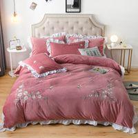 Wholesale korean princess bedding resale online - Luxury Korean Princess Flowers Embroidery Winter Velvet Fleece Flannel Bedding set Duvet Cover Bed Linen Fitted Sheet Pillowcase