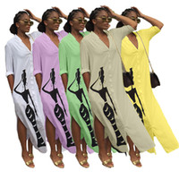 Wholesale one piece dresses gowns resale online - Women long shirt dress skirt one piece set womens dresses fashion print plus dress sexy v neck split dress fashion womens clothing klw2688