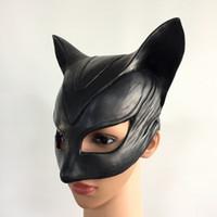 yetişkinler için siyah yarı maskeler toptan satış-Catwoman Maske Cosplay Kostüm Başlık Siyah Yarım Yüz Lateks Maskeleri Seksi Kadın Cadılar Bayramı Batman Parti yetişkin Siyah Top Maske