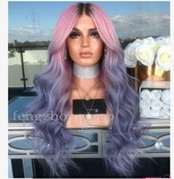 Wholesale rainbow human hair for sale - Group buy Rainbow Color Sexy Cosplay Long Wigs Woman Fashion Simulation Human Hair Best Silk Body Wavy Party Wigs for Black Women