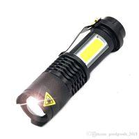 linterna led de batería portátil al por mayor-Q5 COB LED Linterna Portátil Mini ZOOM torchflashlight Use14500 Batería Impermeable en la vida Linterna de iluminación DLH049
