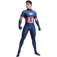 kapitän amerika zentai großhandel-Captain America Kostüm Cosplay Zentai Anzug Superheld Kostüm
