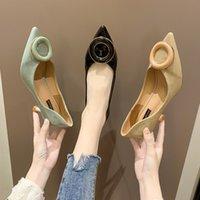 sapatos de cor sólida venda por atacado-Primavera Outono Mulheres sapatos de salto luz slip-on de moda elegante sapatos de salto-alto fêmea selvagem da moda de cor sólida U22-69