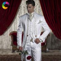 erkek italyanca uyma takımları toptan satış-İtalyan Tailcoat Düğün Erkekler Nakış Vintage Uzun Damat Giyim ile Smokin 3 Parça Suits (Ceket + Pantolon + yelek) Slim Fit Kostüm Homme