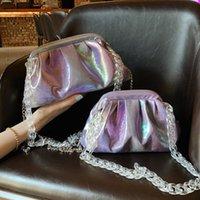 Wholesale crossbody sling messenger bag purse resale online - Fashion color pleat cloud women crossbody bags chain Sling bag for ladies shoulder messenger bag female purses and handbags