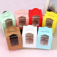ingrosso scatola offset-Cup Cake Window Cookie Boxes 1 Custodia Pinkycolor Offset Stampa Muffin Box Tromba Hand Held West Point Gift Wrap 0 37yfE1