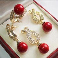 brincos de colar de coral vermelho venda por atacado-Lindo casamento das mulheres jóias frete grátis 1 conjunto 12mm Red Shell pérola pingente de colar brincos anel conjunto 04