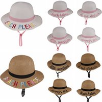 Wholesale girl christmas hat for sale - 10styles Kids Bucket Hat letter Embroidered Strawhat Sunhat summer beach Sun Hat Word Fishing Caps Baby Fisherman Kids Basin hats FFA1922