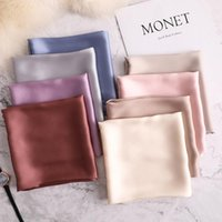 Wholesale polyester hijabs resale online - 70 cm Summer Brand Silk Scarf Square Women Shawls and Wraps Fashion Solider Office Small Hair Neck Hijabs Foulard Blanket