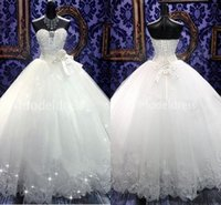 Wholesale plus size ball gowns wedding dresses for sale - Luxury Biling Wedding Dresses Strapless Beaded Crystal Ball Gowns Floor Length New Castle Chapel Bridal Gowns Bow Charming Vestidoe De Noiva