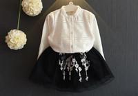 bluzlar korece çocuklar toptan satış-Kız Elbise Kız Giyim Seti Kore Dantel Bluz Dantel Etek İki adet Kıyafetler Seti Çocuk Uzun Kollu Butik Çocuk Bebek Çocuk Giyim