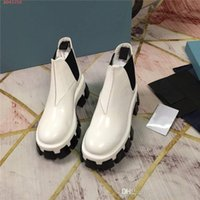 Wholesale simple plain shoes for sale - Group buy Womens white leather shoes The bottom of the thick leather shoes Simple and atmospheric casual black bottom Martin boots With box size