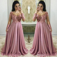 Wholesale gorgeous lace chiffon evening dresses for sale - Group buy 2019 Gorgeous Dusty Pink Prom Dresses With Long Sleeves Sheer Jewel Neck Party Guest Dress Chiffon Lace Plus Size Evening Gowns