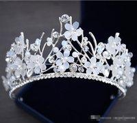 diademas de pelo moldeado al por mayor-Bling con cuentas de cristal coronas de boda 2019 Barato joyería nupcial del diamante perlas de diamantes de imitación diadema pelo corona chicas mujeres Proms Tiaras