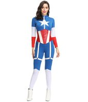 kapitän amerika zentai großhandel-Sexy Captain America Cosplay Kostüm Frauen Zentai Overall Fancy Party Dress Up Superheld MS4385