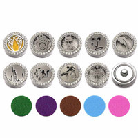 Wholesale bracelet pads resale online - Hot Crystal Findings w343 mm Metal Snap Button Essential Oils Diffuser Locket Fit Interchangeable Bracelet Jewelry With Pads