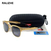 gafas sin montura de diseñador para hombre al por mayor-RALIZHE Para mujer para hombre Gafas de sol polarizadas Diseñador Aluminio Magnesio Clásico Retro Cuadrado Gafas de sol de oro UV400 HD TAC Conducción semi sin montura