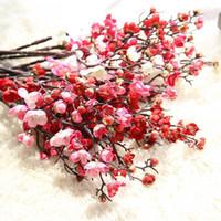 decoraciones florales de cerezo al por mayor-Cereza Flor artificial Falsa Sakura Ramas de los árboles 60 cm Seda Flor de cerezo Árbol Mesa de la casa Sala de estar Decoración Decoración de la boda DIY