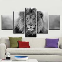 ingrosso immagine di arte nera per salotto-Animali in bianco e nero Immagini di tela modulari 5 pezzi Poster di leone Decor Living Room parete HD Dipinto quadro di dipinti