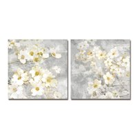 Wholesale canvas prints oil paintings for sale - Group buy DYC White Flowers Print Art Ready to Hang Paintings