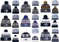 ingrosso migliori munizioni-Vendita calda Los Angeles Rams Cappelli lavorati a maglia migliori di qualità tutti i gruppi possono cappucci lavorati a maglia invernali misti