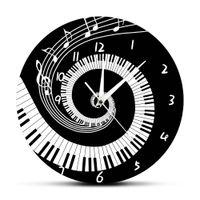 черные современные настенные часы оптовых-Elegant Piano Keys Black and White Modern Wall Clock Music Notes Wave Round Music Keyboard Wall Clock Lover Pianist Gift