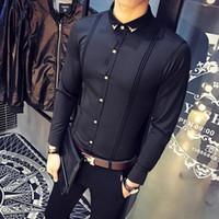 смокинг для мужчин красный черный цвет оптовых-Мода Solid Color Рубашка прибытия Мужская рубашка Тонкий Fit смокинг рубашки мужчина с длинным рукавом красный черный белый Повседневная рубашка Мужчины высокого качества