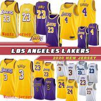 weiße lakers groihandel-Neue 4 Alex Caruso Los AngelesLakers Basketball Jersey LeBron James 23 Anthony 3 Davis StadtAusgabe Trikots Goldene Lila Weiß 2020