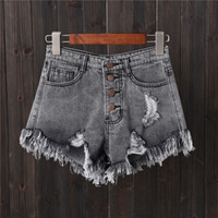 2021 denim shorts gray hole row buckle large size Jeans female summer thin wide leg pants