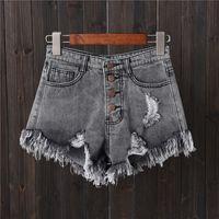 legging jeans chaud achat en gros de-short en jean gris trou boucle boucle grande taille Jeans femme été mince pantalon large jambe chaude pantalon bord