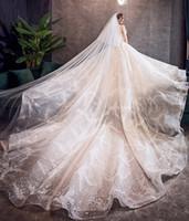 ingrosso bling abiti da sposa-Bling paillettes abiti da sposa 2019 abito da ballo sweetheart champagne / bianco abito da sposa principessa abiti da sposa robe de mariee
