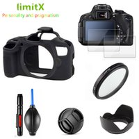 Wholesale camera kit bags resale online - Full Protect Kit Screen Protector Camera case bag UV Filter Lens hood Cap pen Blower for Canon EOS D T100 with mm