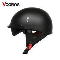vespa kaskları toptan satış-VCOROS Cam Elyaf Harley Tarzı Motosiklet Kask Yarım Yüz motosiklet İç güneş lens ile vespa moto kask Kask DOT onaylı