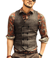 ingrosso vestiti di gilet per prom-2019 Gilet da sposo in tweed Business Slim Groomsmens / Best Man Formal Vest Suit Gentleman Cheap Custom Made Size Prom Wedding Gilet