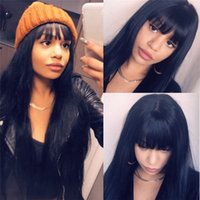 Wholesale natural black bang resale online - 13x6 Lace Front Human Hair Wigs With Bangs For Black Women Remy Brazilian Human Hair Lace Front Wig Pre Plucked Bang