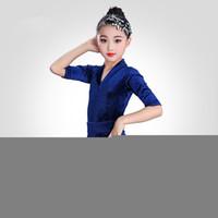 salsa tanzkleider für kinder großhandel-Mädchen kurzen Ärmeln Standard Latin Dance Dress Kinder Ballroom Dance Kleider Kinder Salsa Rumba Cha Cha Samba Tango-Kleid