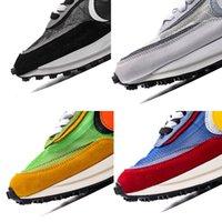 zapatillas grises azules al por mayor-Mejor Sacai LD galleta para hombre zapatos corrientes de las mujeres de los zapatos corrientes LD Waffle Sacai Azul, Verde, zapatillas deportivas Blanco Gris Negro capacitadores 36-45